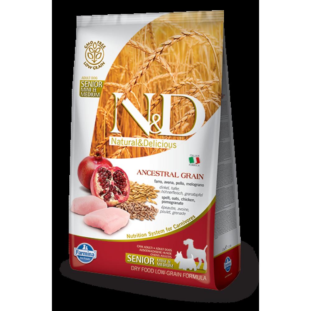 Farmina Natural & Delicious N&D - 高齡犬專用- 天然低殼物系列 - 雞及石榴味 2.5kg